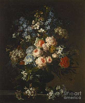 A Still Life Of Roses, Hyacinth, Honeysuckle And Other Flowers In A Glass Vase On A Ledge Art Print