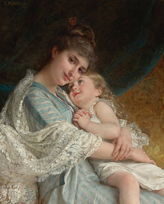 Emile Painting -  A Tender Embrace by Emile Munier