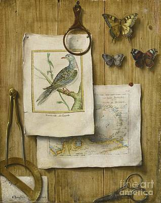 French School Painting -  A Trompe L'oeil With Magnifying Glass by Celestial Images