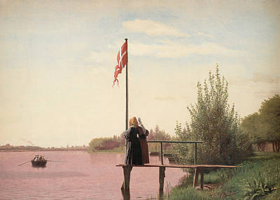 Flagpole Painting -  A View From Dosseringen by Christen Schjellerup Kobke