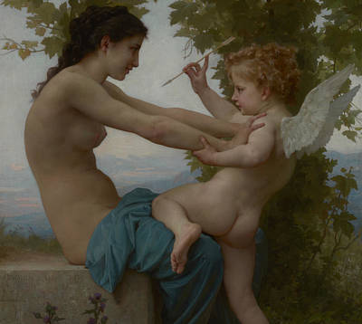 A Young Girl Defending Herself Against Eros Art Print by William Adolphe Bouguereau