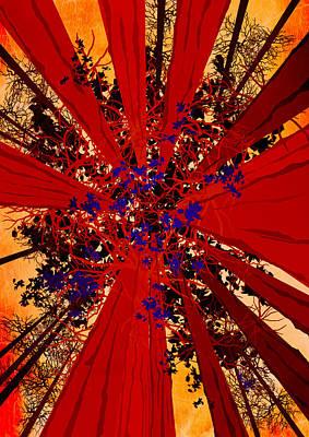 Modern Landscape Digital Art -  Abstract Landscape Art Sequoia Trees 2 by Diana Van