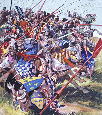 Shield Painting -  Agincourt The Impossible Victory 25 October 1415 by Ron Embleton