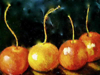 Painting -  All Cherries In A Row by Marie Hamby