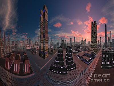Amsterdam Digital Art -  Amsterdam City Nighttime Image by Heinz G Mielke