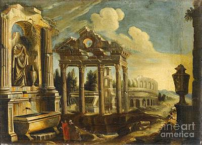 Painting -  Architectural Capriccio With Ruins And The Colosseum by Celestial Images