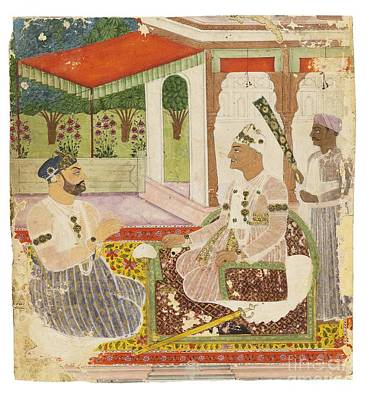 Painting -  Asaf Jah II And Prime Minister Aristu Jah by Celestial Images