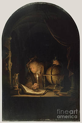 Astronomers Painting -  Astronomer By Candlelight by Celestial Images