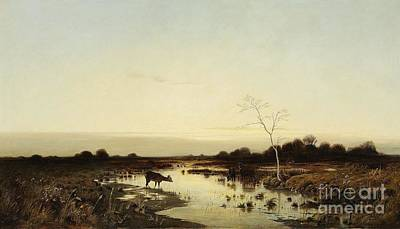 Fallow Deer Painting -  Attributed To  An Evening Panorama With Deer by MotionAge Designs