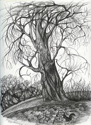 Art Print featuring the drawing  Autumn Dancing Tree by Anna  Duyunova