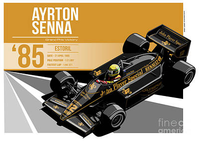 Indycar Digital Art -  Ayrton Senna - 1985 Estoril by Evan DeCiren