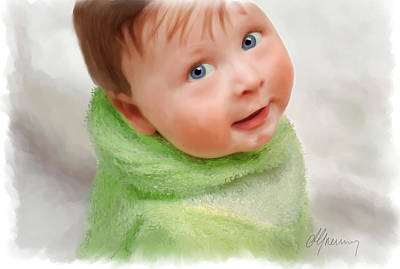 Smiling Mixed Media -  Baby Blue Eyes by Michael Greenaway