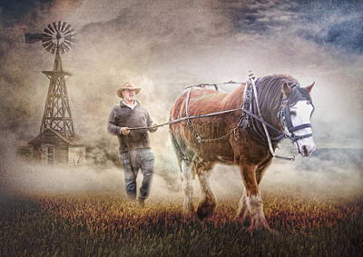 Shire Horse Digital Art -  Back To Work by Trudi Simmonds