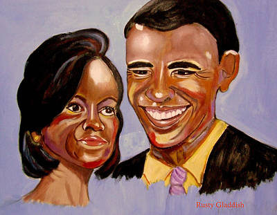 Michelle Obama Painting -  Barak And Michelle Obama   The Power Of Love by Rusty Woodward Gladdish