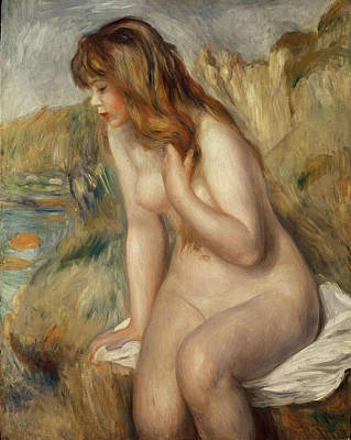 Brown Hair Painting -  Bather Seated On A Rock by Pierre Auguste Renoir