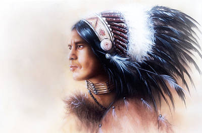 Native American Spirit Portrait Painting -  Beautiful Painting Of A Young Indian Warrior Wearing A Gorgeous Feather Headdress Profile Portrait by Jozef Klopacka