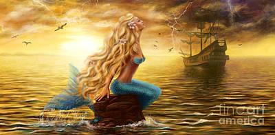 Beautiful Princess Sea Mermaid With Ghost Ship At Sunset Background Art Print
