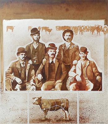 Steak Mixed Media -  Beef Gang by Harley Dean Harp
