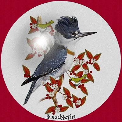 Kingfisher Digital Art -   Belted Kingfisher by Madeline  Allen - SmudgeArt
