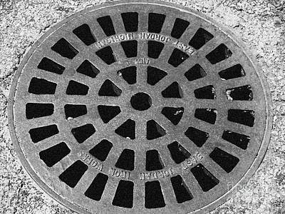 Black And White Manhole Cover Art Print by Emily Kelley