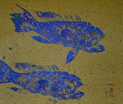 Mixed Media -  Black Sea Bass - Rockfish by Jeffrey Canha