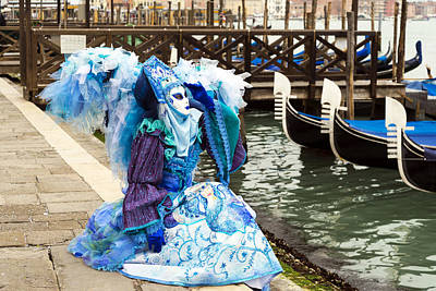 Beaded Gloves Photograph -  Blue Angel 2015 Carnevale Di Venezia Italia by Sally Rockefeller