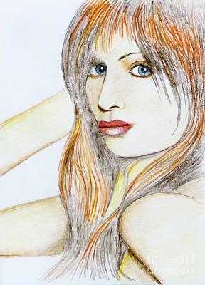Tangerines Drawing -  Blue Eyed Tangerine by Stephen Brooks