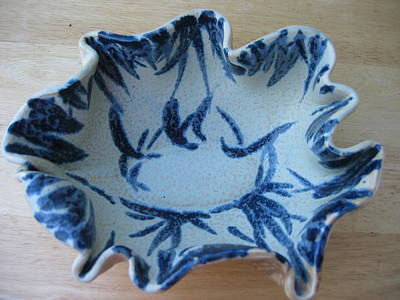 Blue Leafy Bowl Art Print