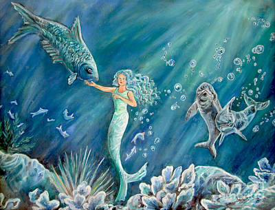 Painting -  Blue Mermaid by Stephanie Skeem