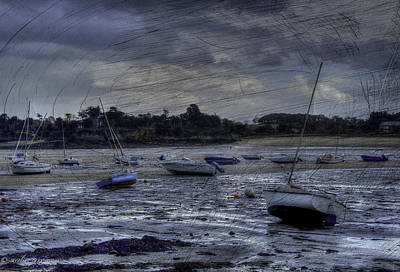Photograph -  Boats On The Beach In November by Karo Evans