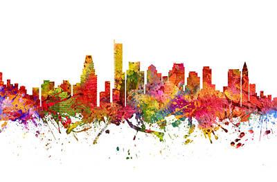 Massachusetts Drawing -  Boston Cityscape 08 by Aged Pixel