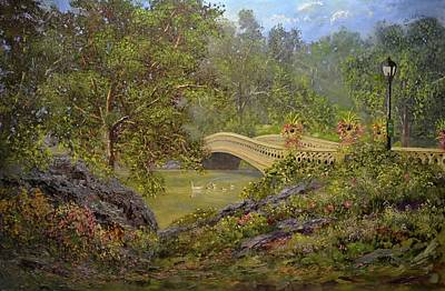 Painting -  Bow Bridge Central Park by Michael Mrozik