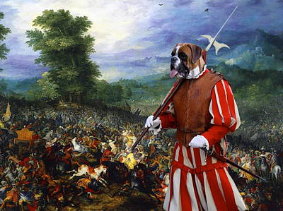 Painting -  Boxer Art Canvas Print - Gathering Before The Battle by Sandra Sij