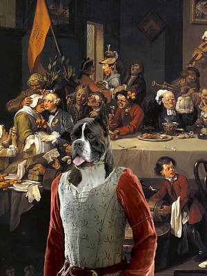 Painting -  Boxer Art Canvas Print - The Banquet by Sandra Sij