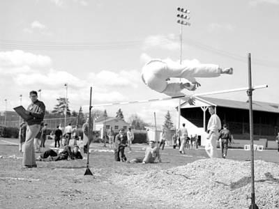 Boy Going Over High Jump Bar 1957 Black White Art Print by Mark Goebel
