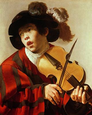 Music Painting -  Boy Playing Stringed Instrument And Singing by Hendrick Ter Brugghen