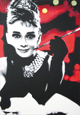 Audrey Painting - - Breakfast At Tiffannys -  by Luis Ludzska