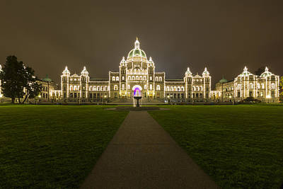 Photograph -  British Columbia Parliament Buildings At Night by Mark Kiver