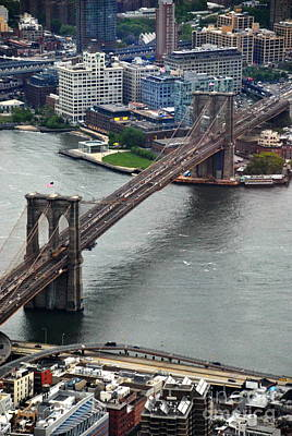 Photograph -  Brooklyn Bridge From One Observatory by Jacqueline M Lewis