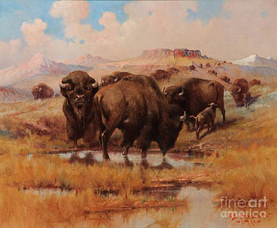 Indigenous Culture Painting -  Buffalo At A Watering Hole by Celestial Images