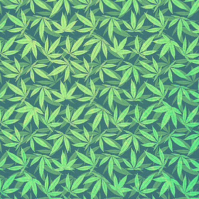 Cannabis   Hemp  420   Marijuana  Pattern Art Print by Philipp Rietz