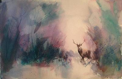 Painting -  Chasing The Deer by J Worthington Watercolors
