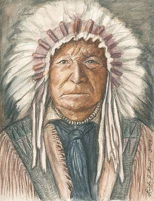 Drawing -  Chief Sitting Bear by Linda Nielsen