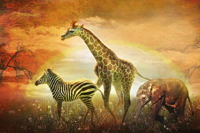 Elephants Digital Art -  Children Of The Sun by Trudi Simmonds