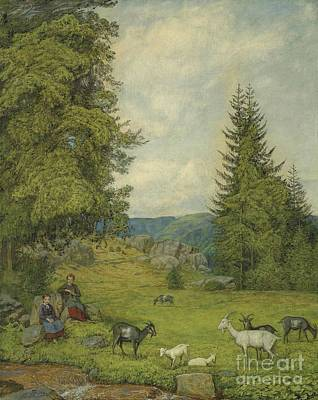 Shephard Painting -  Children With Goat Herd  by Celestial Images
