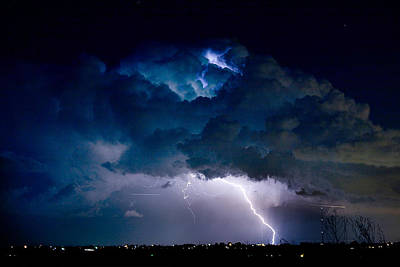 Clouds Of Light Lightning Striking Boulder County Colorado Art Print by James BO  Insogna