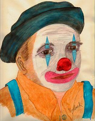 Clown Looking In A Mirror Art Print by Thomas J Norbeck