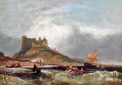 Northumberland Painting -  Coastal Traffic Before Bamburgh by MotionAge Designs