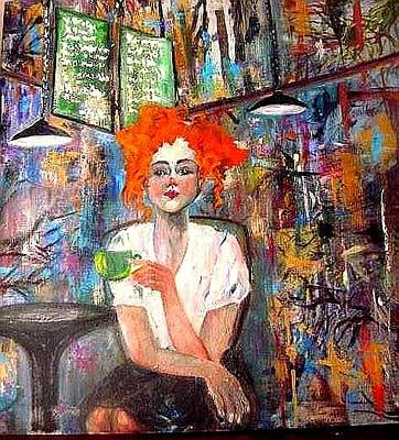 Painting -  Coffee House by Esther Woods