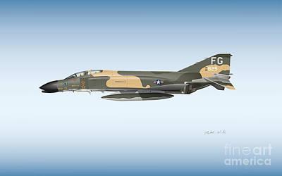 4 Aces Digital Art -  Col. Robin Olds F-4 Phantom by Matthew Webb
